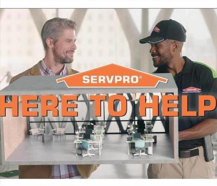 SERVPRO house logo, lettering - here to help